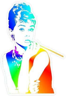 Audrey Hepburn Rainbow Decal / Sticker