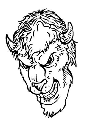 Buffalo Head Mascot Decal / Sticker hd5