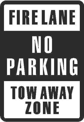 Firelane No Parking Tow Away Zone Decal / Sticker