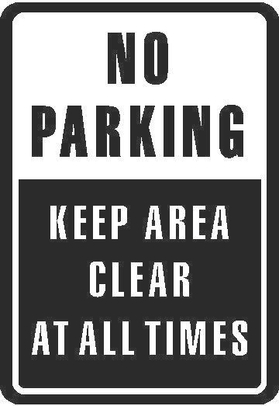 No Parking Keep Area Clear Decal / Sticker