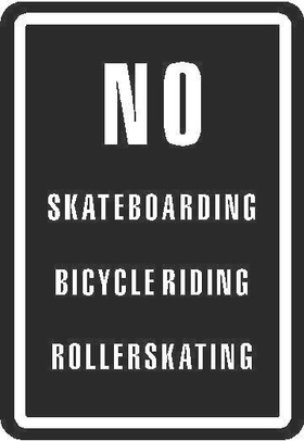 No Skateboarding Rollerskating sign Decal / Sticker