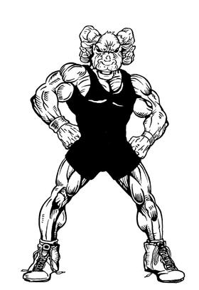 Wrestling Rams Mascot Decal / Sticker 3