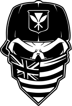 Skull Kanaka Maoli British Flag Bandana Decal / Sticker 37