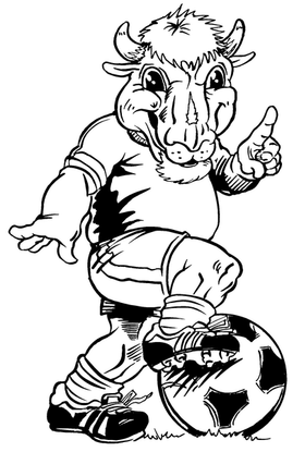 Soccer Buffalo Mascot Decal / Sticker sr3