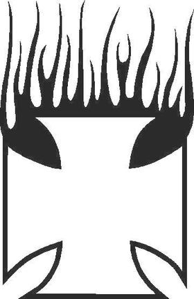 Flaming Maltese Cross Decal / Sticker