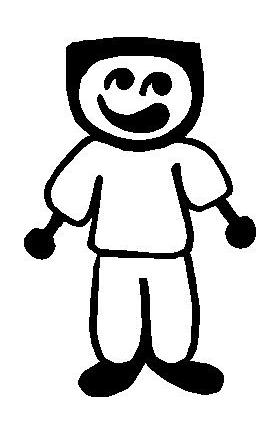 Flat Top Guy Stick Figure Decal / Sticker