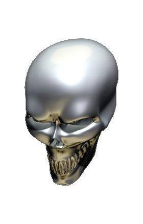 3D Chrome Skull 01 Decal / Sticker