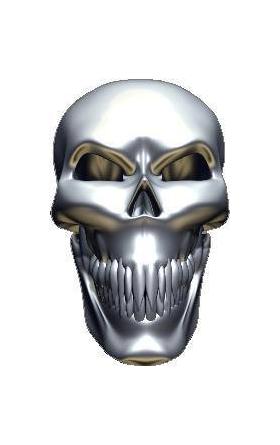 3D Chrome Skull 04 Decal / Sticker