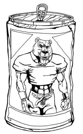 Football Bear Mascot Decal / Sticker 15