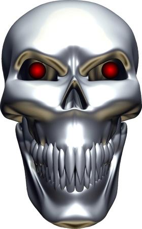 3D Chrome Skull Decal / Sticker 06