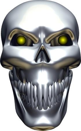 3D Chrome Skull Decal / Sticker 10