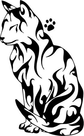 Tribal Cat Decal / Sticker 01