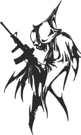 Reaper with Machine Gun Decal / Sticker