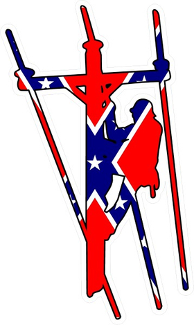 Confederate Flag Lineman Decal / Sticker 04