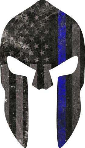 Thin Blue Line American Flag Spartan Helmet Decal / Sticker 07