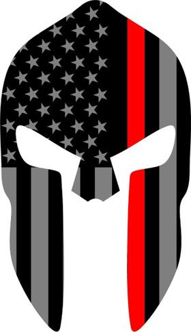 Thin Red Line American Flag Spartan Helmet Decal / Sticker 09