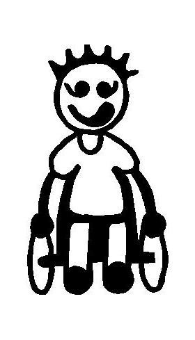 Wheelchair Boy Stick Figure Decal / Sticker 01
