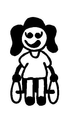 Wheelchair Girl Stick Figure Decal / Sticker 01