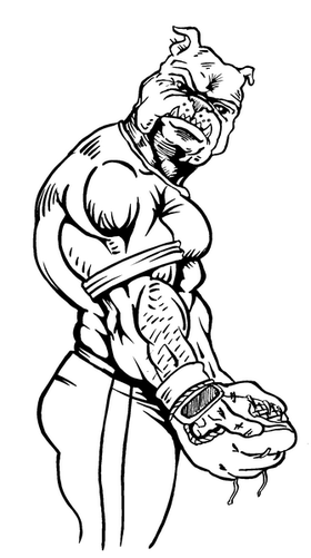 Baseball Bulldog Mascot Decal / Sticker 02