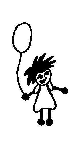 Balloon Girl Stick Figure Decal / Sticker 01