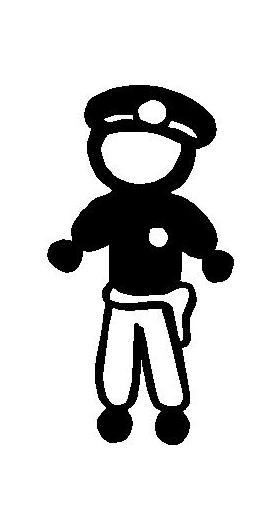 Police Man Stick Figure Decal / Sticker 04