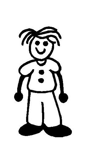 Bed Head Guy Stick Figure Decal / Sticker 01