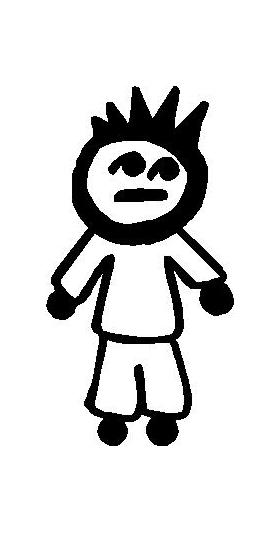 Spike Hair Guy Stick Figure Decal / Sticker 02
