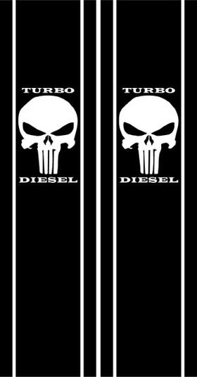Punisher Turbo Diesel Truck Bed Stripes Decals / Stickers 12