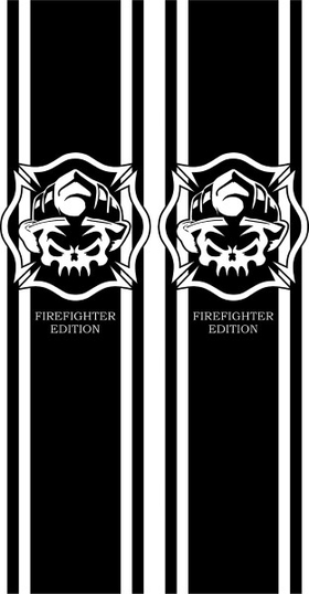 Firefighter Edition Truck Bed Stripes Decals / Stickers 05