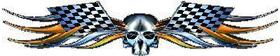 Gold Checkered Flag Skull Tribal Decal / Sticker