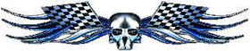 Blue Checkered Flag Skull Tribal Decal / Sticker Q3