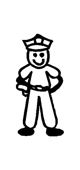 Police Man Stick Figure Decal / Sticker 03
