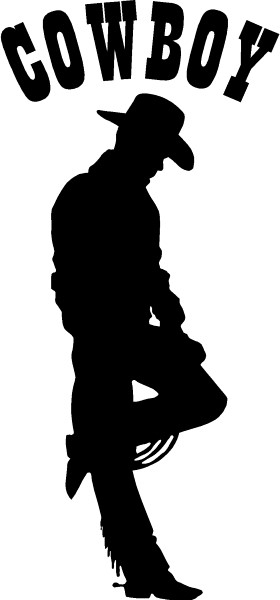Cowboy Leaning Decal / Sticker 07