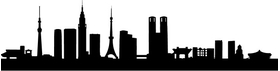 Tokyo Skyline Silhouette Decal / Sticker 01