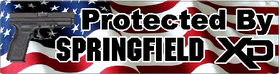 American Flag Protected By Springfield XD Decal / Sticker