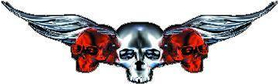 Red Winged Skulls Decal / Sticker J2