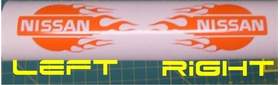 Flaming Nissan Logo Decal / Sticker  (left and right)