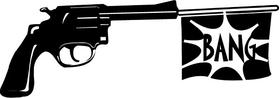 Gun with Bang Flag Decal / Sticker