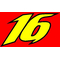 16 Race Number 2 Color Decal / Sticker