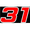 31 Race Number 2 Color Hemihead Font Decal / Sticker