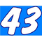 43 Race Number 2 Color Dawncastle Font Decal / Sticker