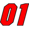 01 Race Number Motor Font 2 Color Decal / Sticker
