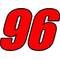 96 Race Number 2 Color Impact Font Decal / Sticker