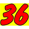 36 Race Number 2 Color Impact Font Decal / Sticker