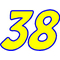 38 Race Number 2 Color Impact Font Decal / Sticker