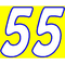 55 Race Number 2 Color Hemihead Font Decal / Sticker