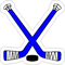 Blue Crossed Hockey Sticks and Puck Decal / Sticker