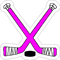 Pink Crossed Hockey Sticks and Puck Decal / Sticker