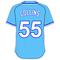 55 Tim Collins Powder Blue Jersey Decal / Sticker
