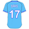 17 Wade Davis Powder Blue Jersey Decal / Sticker